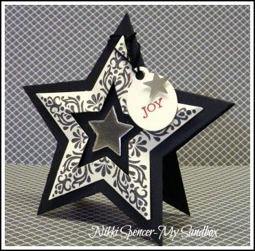handmade card from My Sandbox: Bright & Beautiful Star Card! ... star shaped .. black and white ... great design ... Stampin' Up!