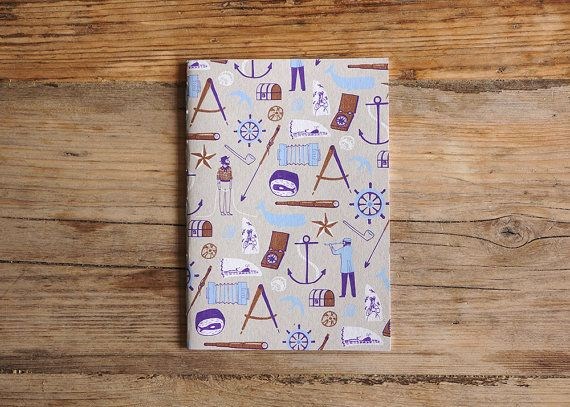 Nautical print squared paper sketchbook/notebook