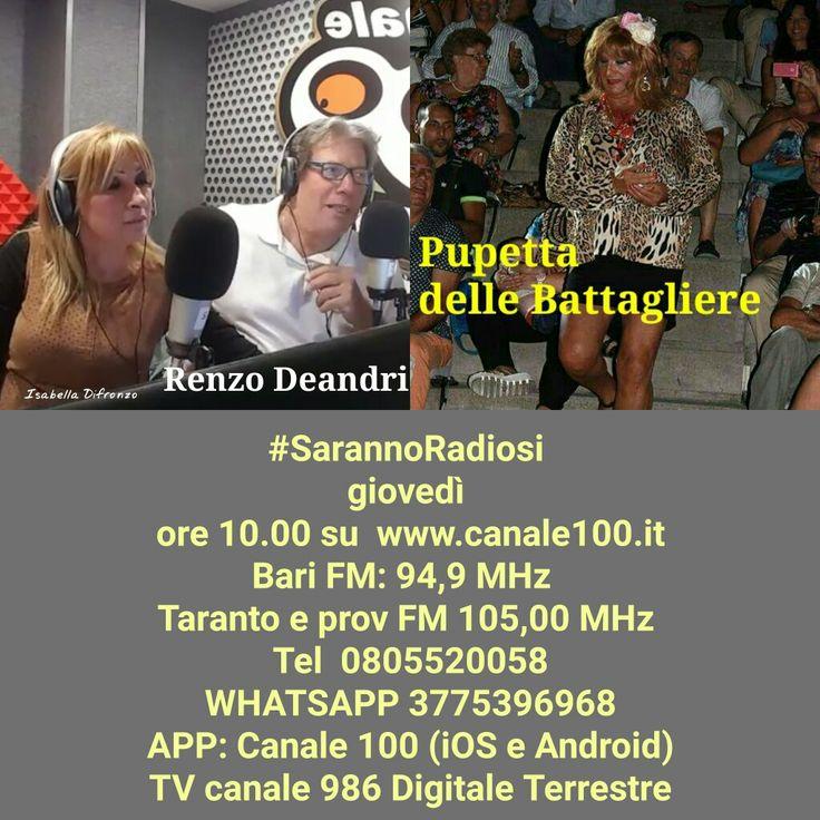 Domani ore 10.00 vi aspettiamo in diretta su www.canale100.it  #SarannoRadiosi  Bari FM: 94,9 MHz  Taranto e prov FM 105,00 MHz  Tel 0805520058 WHATSAPP 3775396968 APP: Canale 100 (iOS e Android) TV canale 986 Digitale Terrestre