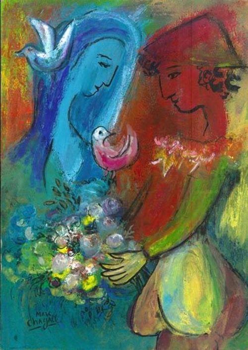 'Couple fleuri' - MarcChagall | Grands peintres - Arts et Lettres