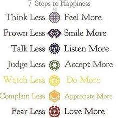 7 Schritte zu mehr Glück im Leben: Think less - feel more, frowm less smile more, talk less - listen more, judge less - accept more, watch less - do more , complain less - appreciate more, fear less - love more