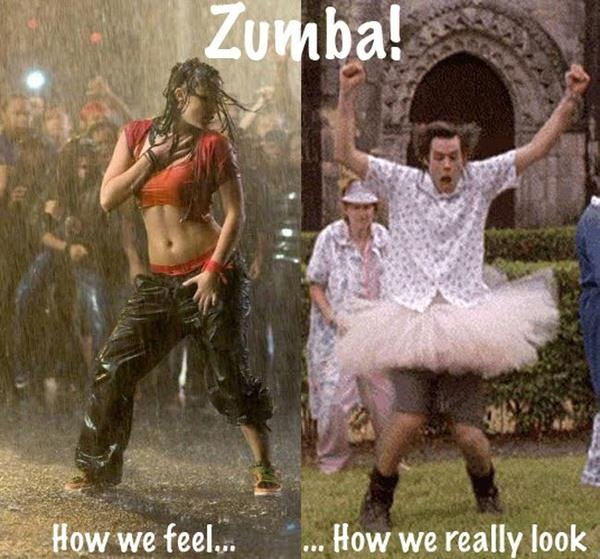 I LOVE Zumba! This is too funny but I sure hope I look a little more like the hot chick on the left than the dork on the right!: Sotrue, Fitness, So True, Funny Stuff, Humor, Funnies, Things, Zumba
