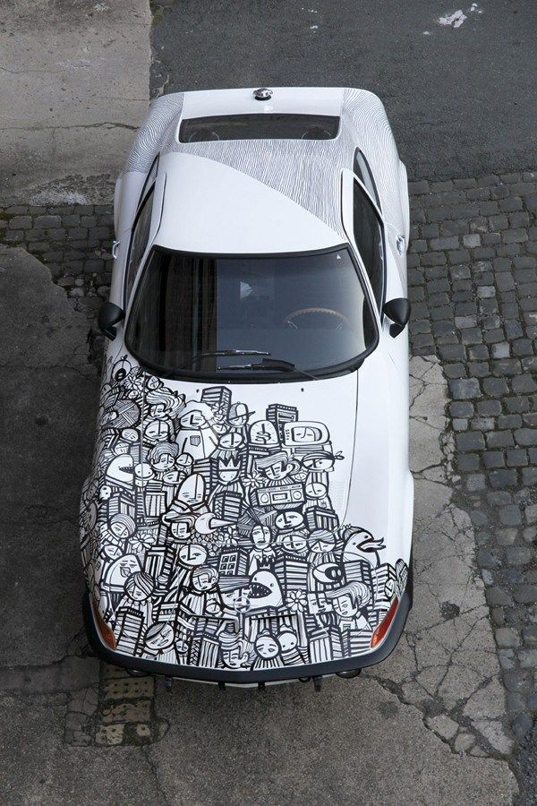 """PYC auf Opel GT Junior 1972 - Art Car. feat. ATEM (Hinterteil) special thanx to Thomas Kypta"" -- Many more pics at the link. http://pycpyc.wordpress.com/2012/01/30/art-car/  /// #artcar #wrap #carwrap"