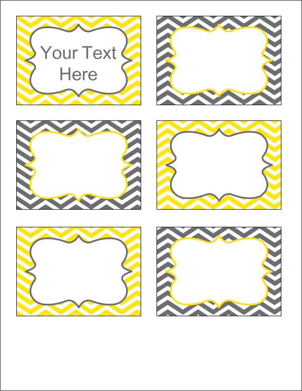 Gray and Yellow Chevron Labels - Printable PDF - EDITABLE. $3.00, via Etsy.