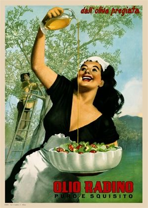 Olio Radino by Boccasile 1948 Italy - Beautiful Vintage Poster Reproduction. This vertical Italian culinary / food poster features a woman in black dress holding a salad bowl pouring olive oil over it in a field. Giclee Advertising Print. Classic Posters