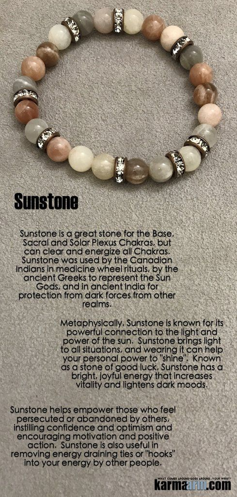 """Sunstone brings light to all situations, and wearing it can help your personal power to """"shine"""". Known as a stone of good luck, Sunstone has a bright, joyful energy that increases vitality and lightens dark moods.  •••••••••••••••••••••••••••••••••••••••••••••••••••••••••••••••••      Yoga Chakra Reiki Beaded Stretch Bracelets. Sunstone Swarovski."""