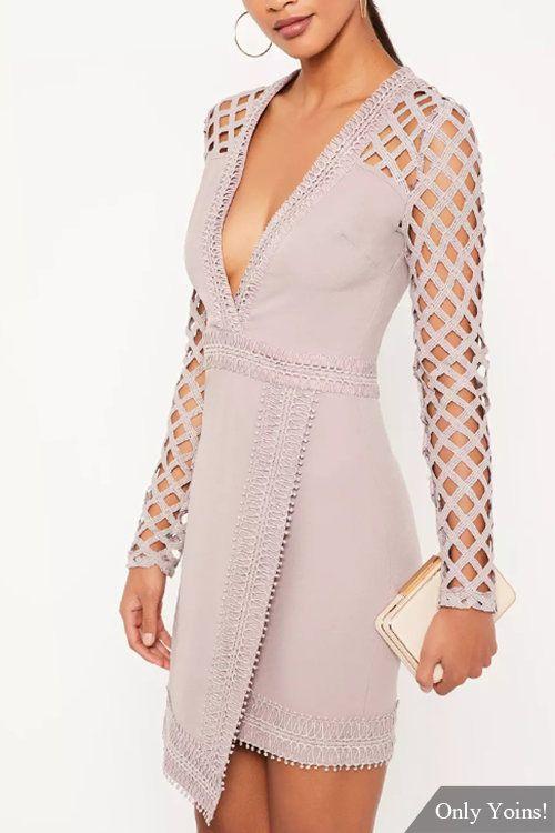 Purple Sexy Deep V-Neck Hollow Lace Details Mini Dress