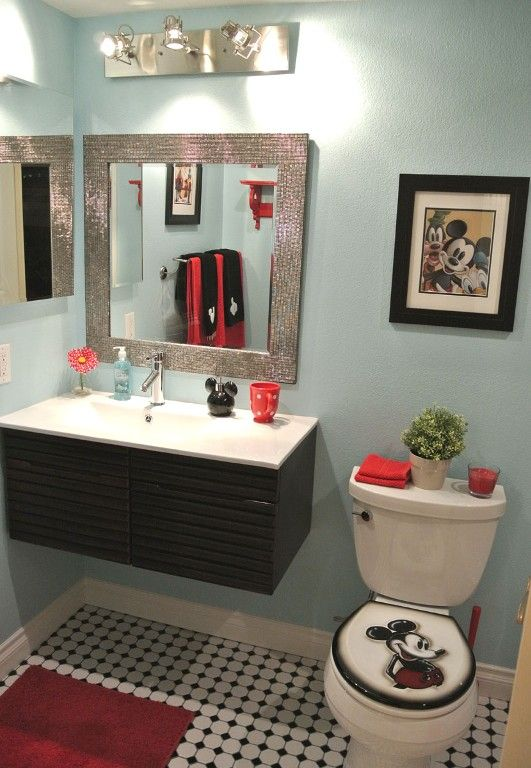 Hate the Mickey Mouse theme, but I like the blue walls with the red/black accents