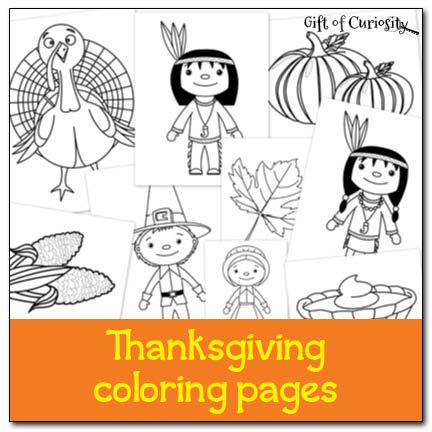 Free Thanksgiving Coloring Pages featuring 9 different Thanksgiving characters and items || Gift of Curiosity