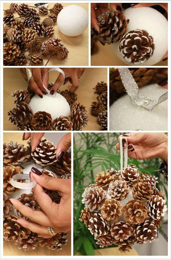 adorno de navidad con una bola de porexpan y piñas #manualidades #navidad #DIY #crafts para el árbol