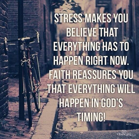 Stress says now. Faith says Gods time. Stress Free, Remember This, Gods Timing, God Is, God Time, Deep Breath, Faith Quo...