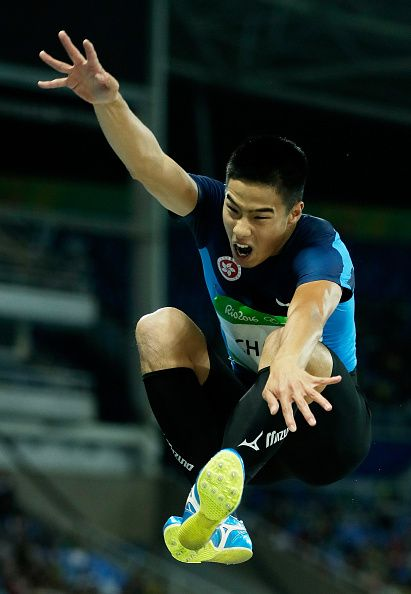 #RIO2016 Ming Tai Chan of Hong Kong China competes in the Men's Long Jump qualification on Day 7 of the Rio 2016 Olympic Games at the Olympic Stadium on...