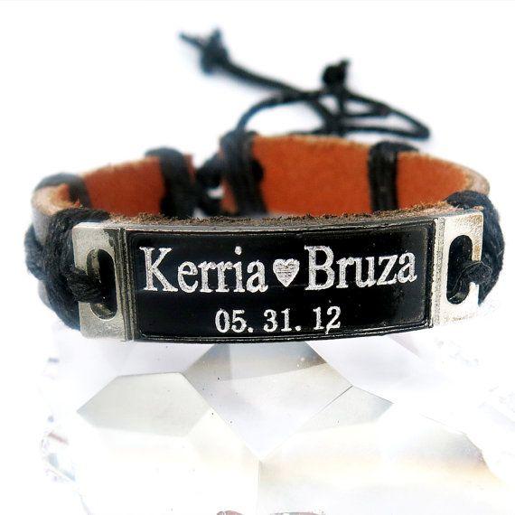 Name Bracelet  Leather Bracelet Personalized by newyorkcustommade