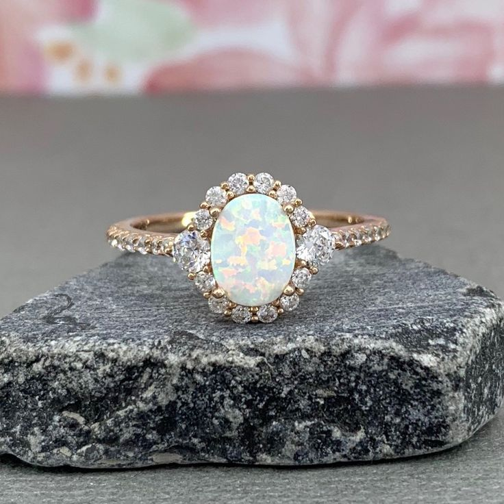 Oval White Fire Opal Rose Gold Art Deco Diamond Simulated Engagement Ring Halo Sterling Silver Promise Wedding Ring