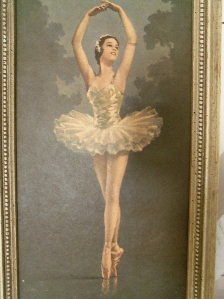 Vintage mid century ballerina art print wall hanging for Retro wall art