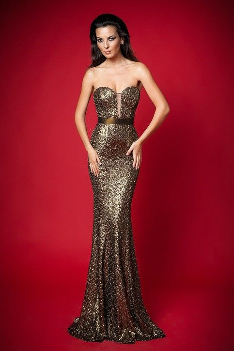 Custom Made Mermaid Sweetheart Sweep Train Evening Dresses Sequin Cloth Lace Ribbon Gold Prom Dresses