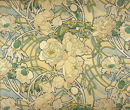Peonies, 1897-98.  Original watercolour by Alphonse Mucha for a printed fabric, using the stems to create the curving lines associated with Art Nouveau.  National Galleries of Scotland.