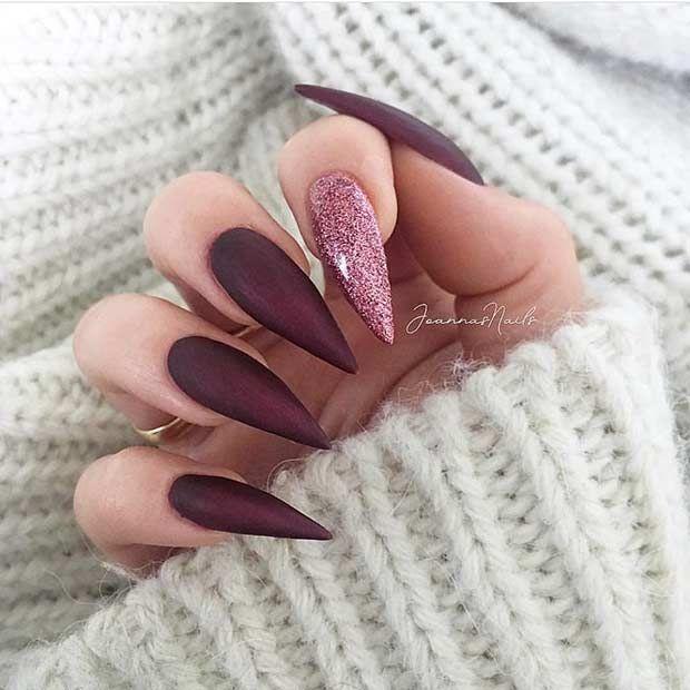 23 schicke burgunderfarbene Nägel zum Verlieben – Matt Nail Design – Gelnägel