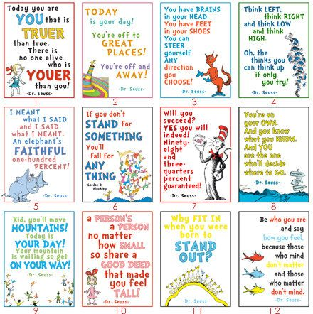 Pack of 24 Dr. Seuss LDS Youth posters YW Camp - Oh the Places You'll Stand.