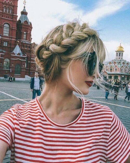 Red lipstick + milk maid braids + STRIPES