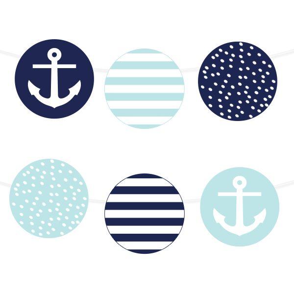 Free Printable Nautical Garland | via @chicfettiwed  #wedding #freeprintable