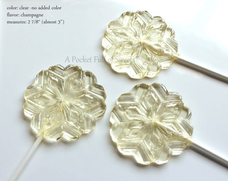 """8 SNOWFLAKE Lollipops, Barley Sugar Hard Candy Suckers, Winter Wedding, Frozen Princess Party Favors -includes 6"""" stick by APocketFullofSweets on Etsy https://www.etsy.com/listing/256580836/8-snowflake-lollipops-barley-sugar-hard"""