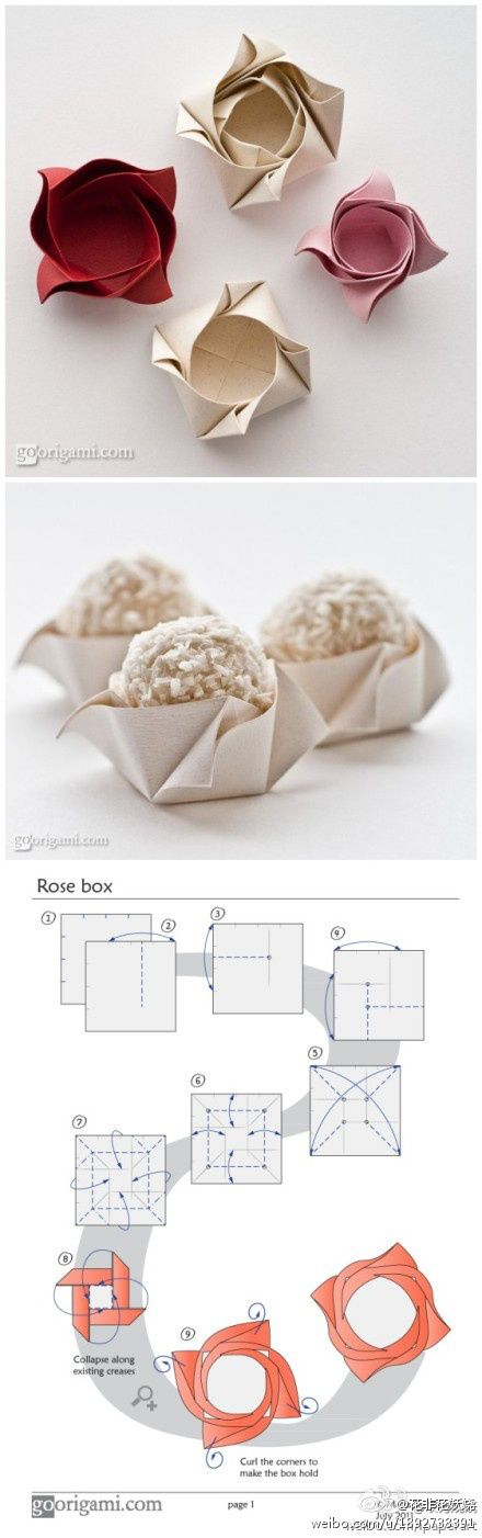 cute origami rose box, would be cute with homemade chocolate in each one would make a nice display via duitang.com