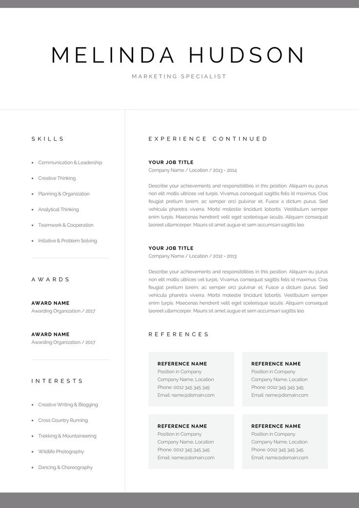 Modern Resume Template For Word Mac Pages Professional 1 2 Page Cv Creative Marketing Cv Clean Design Instant Download Melinda In 2020 Resume Template Word Modern Resume Template Resume Template