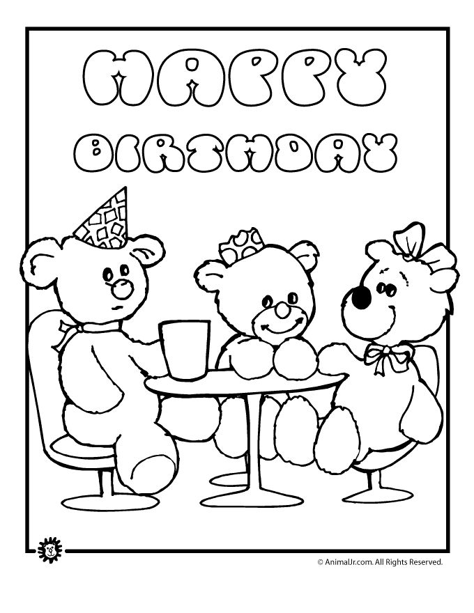 coloring Teddy bear coloring pages, Birthday coloring
