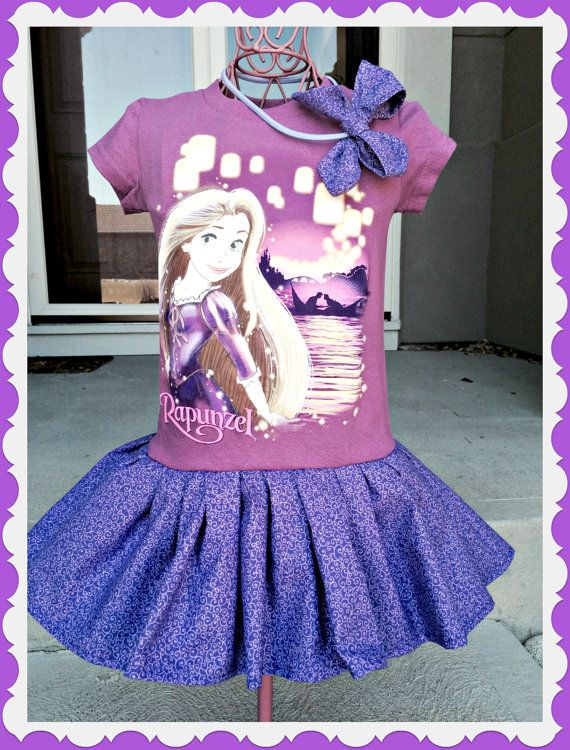 girls Rapunzel Disney Fabric Tangled twirl Dress and matching hair bow size 4 5/6 and 7/8 ready to ship