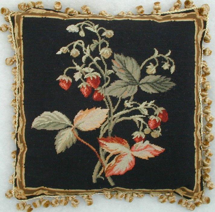 black throw pillows Strawberry Fruit Black Needlepoint Decorative Pillow #blackthrowpillows # ...