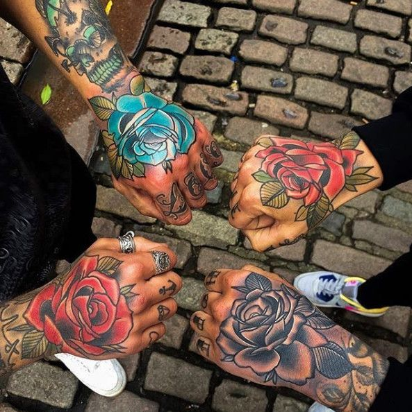 Rose Tattoo Ideas Of Flower Red Blue And Black Grey Rose Tattoo On Hand Tattoo Designs