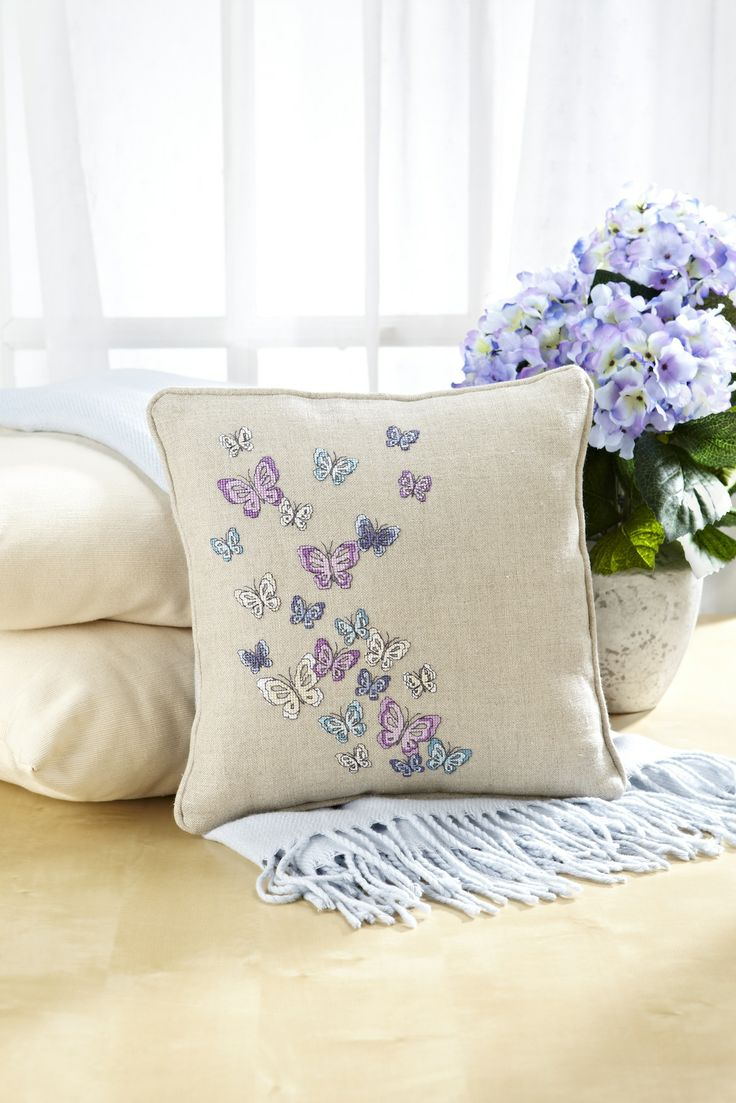 Soft and contemporary, this cushion would be a welcoming addition to any living room! Get the chart for this Angela Poole design in the September 226 issue of CSC: http://www.myfavouritemagazines.co.uk/stitch-craft/cross-stitch-collection-magazine-back-issues/cross-stitch-collection-september-13/