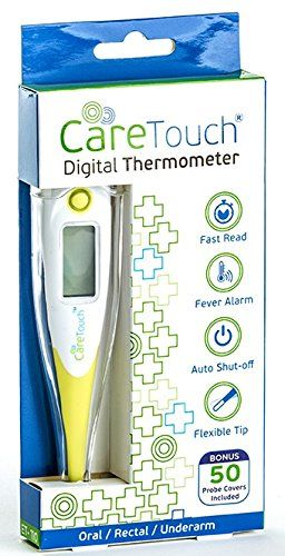 Care Touch Digital Thermometer with 50 Probe Covers, Oral Rectal and Underarm Use for Baby Child Adult and Pets  FAST AND ACCURATE RESULTS - Get results within 10 seconds!  FLEXIBLE TIP with PROBE COVERS- The tip of the thermometer is flexible so it is comfortable and easier to use. 50 Probe Covers included so you can use it without worrying about germs.  Fever signal and alarm - the thermometer will sound an alarm as well as indicate if there is fever  USE FOR YOUR PETS TOO! - This th...