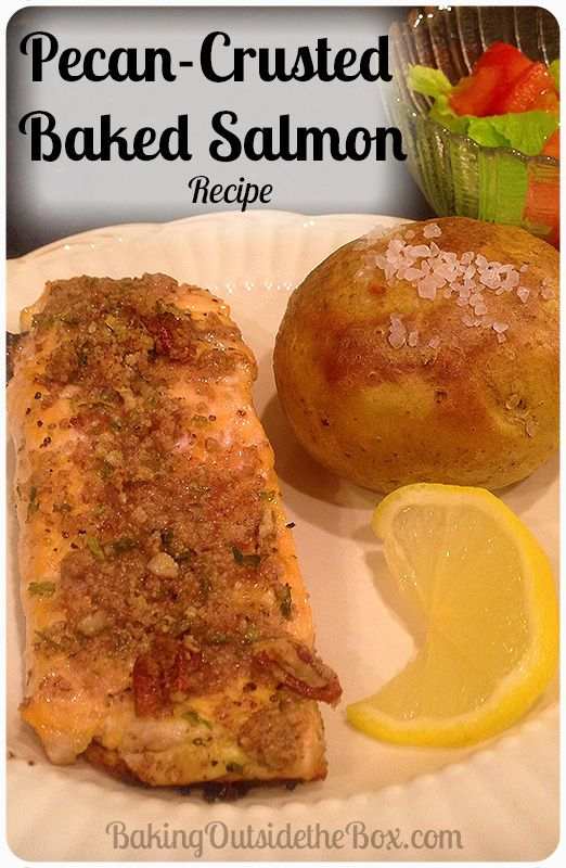 ... salmon fillet with a topping of toasted pecan goodness. Low carb and