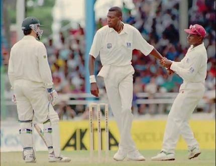 "Curtly Ambrose taking exception to Steve Waugh's sarcastic remark of ""Well Bowled"". Suffice to say the next delivery nearly took Steve's head off!!  A great moment in sport."