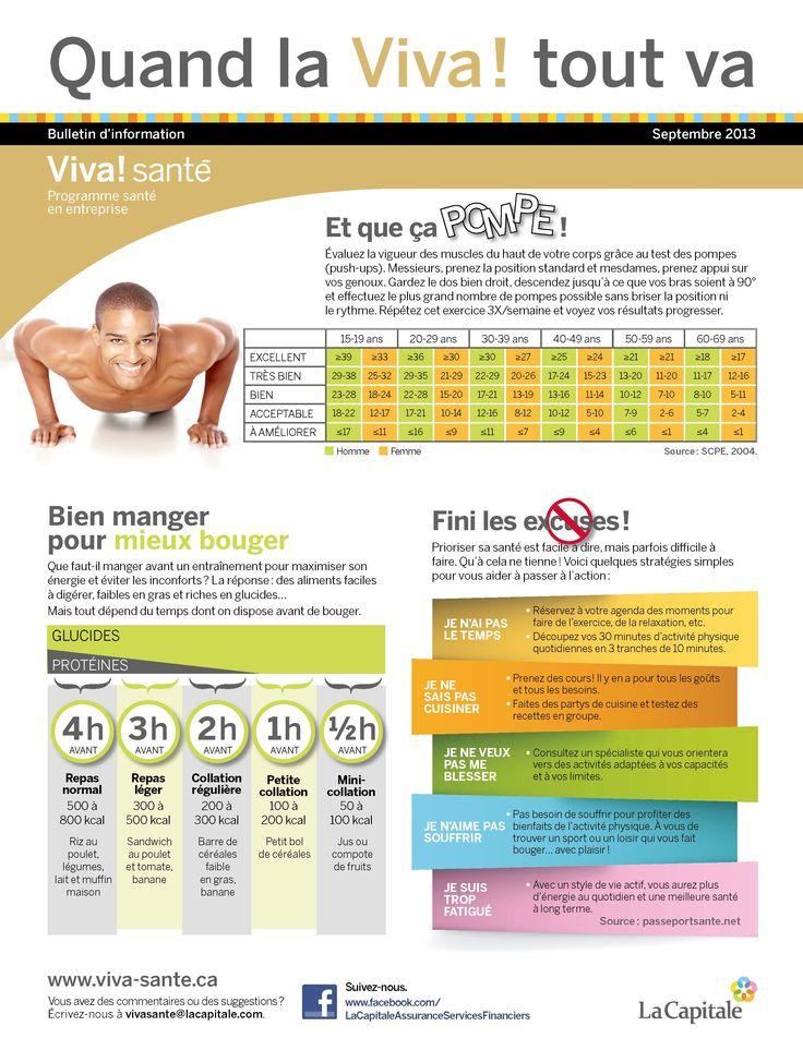 Bulletin Viva! Santé septembre 2013 VIVA Programme santé en entreprise est un programme clé en main, répondant aux besoins des employeurs en matière de prévention, de promotion de la santé et du mieux-être. Composez le 1 844-559-8482 (VIVA), écrivez à viva@lacapitale.com ou visitez http://viva.lacapitale.com/fr