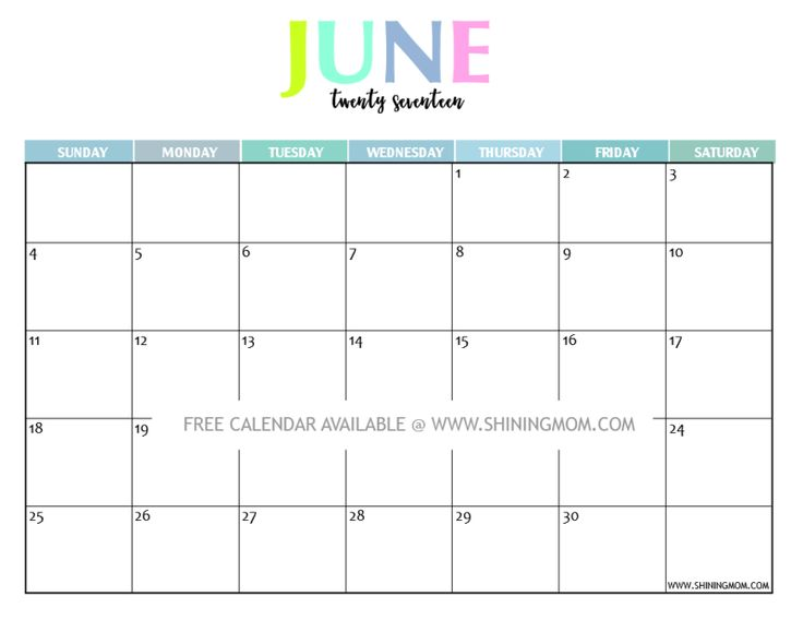 one page calendar june 2017 blank