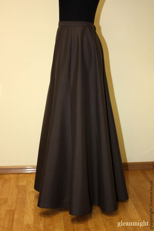 Купить Историческая юбка-годе Реконструкция - коричневый, однотонный, юбка-годе, юбка макси