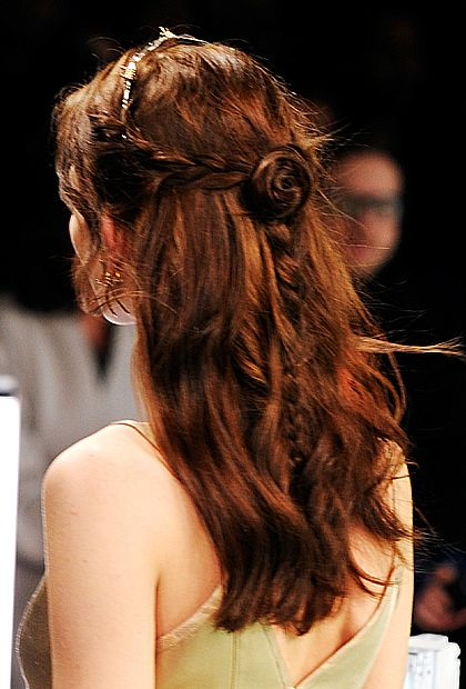 In love with these princess braids (and rosette!) at Rodarte.