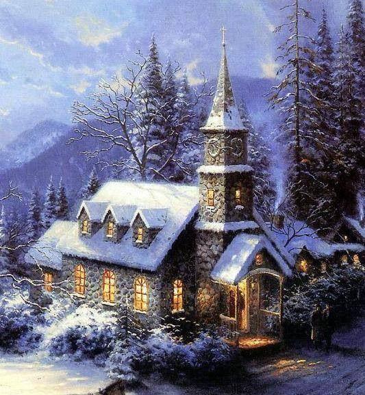 Painting Church In Snow Religious Christmas Ceramic: Beautiful Church Winter Scene