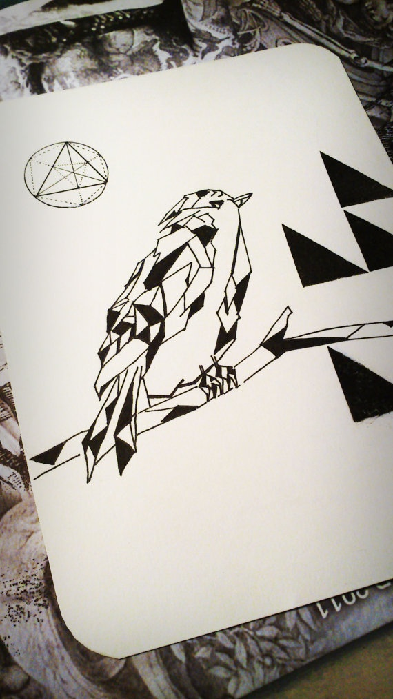 Geometry Bird  triangles // Ink drawing by BackCraft on Etsy, $25.00