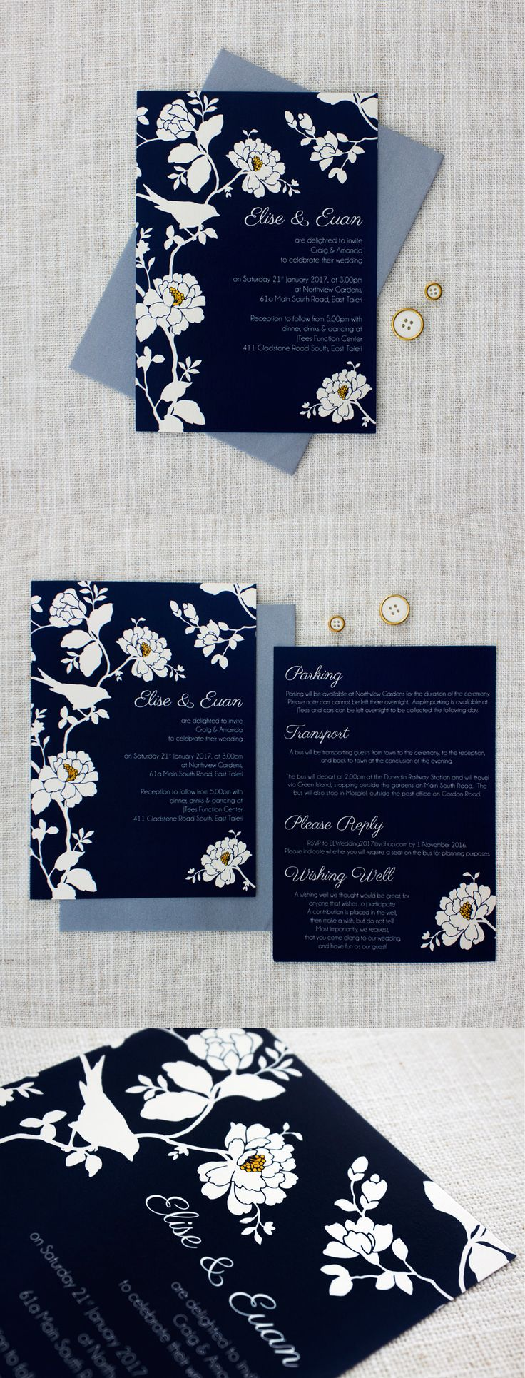 Navy blue, gold and white are the colours that adorn this gorgeous rose and bird wedding invitation. Stunning and simplistic.