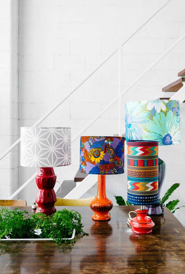 The colourful Brunswick studio of Tamara Watts of Retro Print Revival the creator of retro inspired l&s via The Design Files. What a clever chicken. & 111 best vintage retro lighting lights images on Pinterest   Retro ... azcodes.com