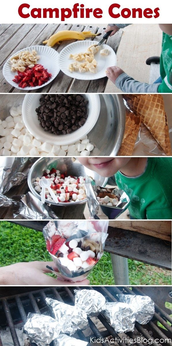 Camp Fire Food - Fruit & Smore Cones - Kids Activities Blog