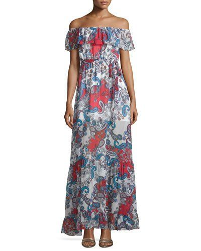 Off-The-Shoulder Paisley-Print Maxi Dress, Red Pattern