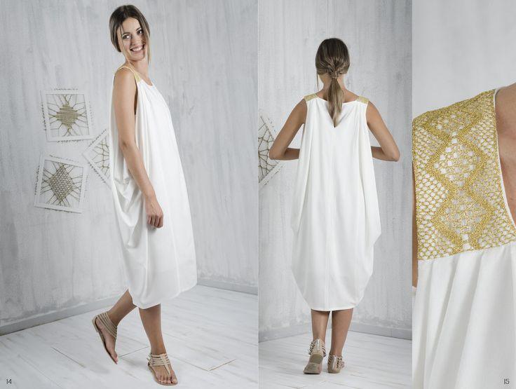 Bobbin lace, Pillow lace, cowl dress, handmade, traditional Greek handicraft, bamboo fabric, sustainable fashion. www.ariadnesthread.gr