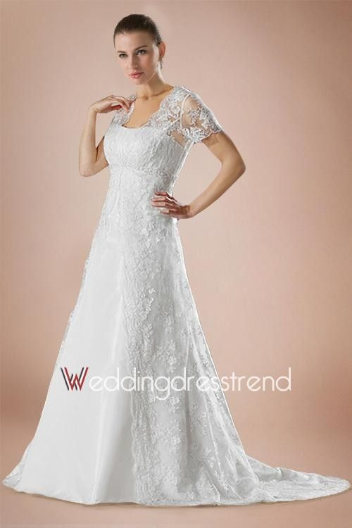 Best Vintage Draped Court Train A Line Lace Wedding Dress