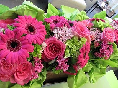 Hot Pink & Lime Green boquets