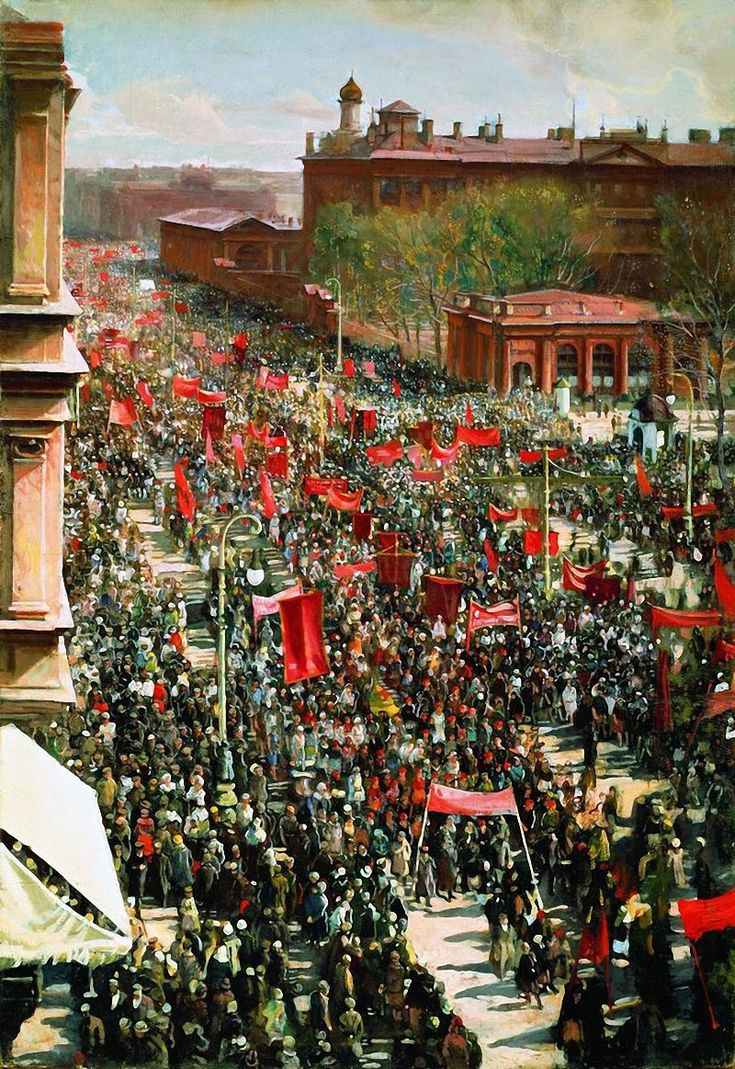 Isaak Brodsky (Russian 1884–1939) [Realism, Socialist Realism] The May Day demonstration on the prospect 25 October 1934.